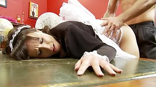 Naughty Horny Maid Gets Fucked Everlasting by her Boss about Big Cock