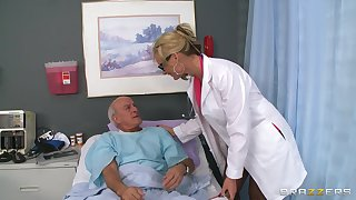 Tow-headed doctor Phoenix Marie drops her uniform to ride a patient