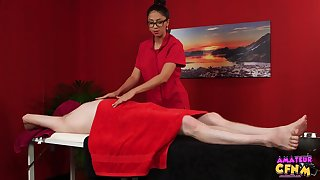 Julia De Lucia massages a guy and takes feel interest of his throbbing dick