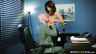 Sexy MILF goes full mode on her boss's huge dong