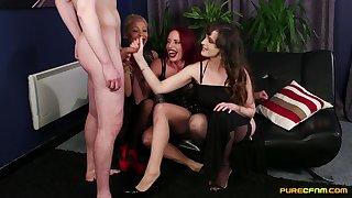 Kinky Various Stacey plus Ella Bella stroke his aphoristic penis
