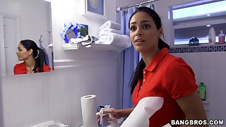 Soft handjob by the busty Latina demoiselle